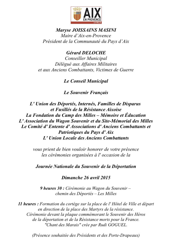 Journée Nationale du Souvenir de la Déportation à Aix En Provence