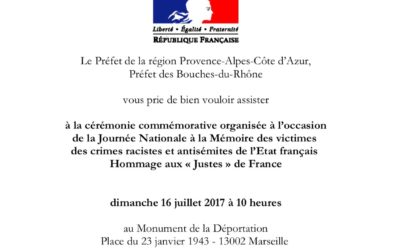 Journée nationale à la mémoire des victimes des crimes racistes et antisémites de l'Etat français et d'hommage aux «Justes» de France aura lieu Dimanche 16 juillet à Marseille