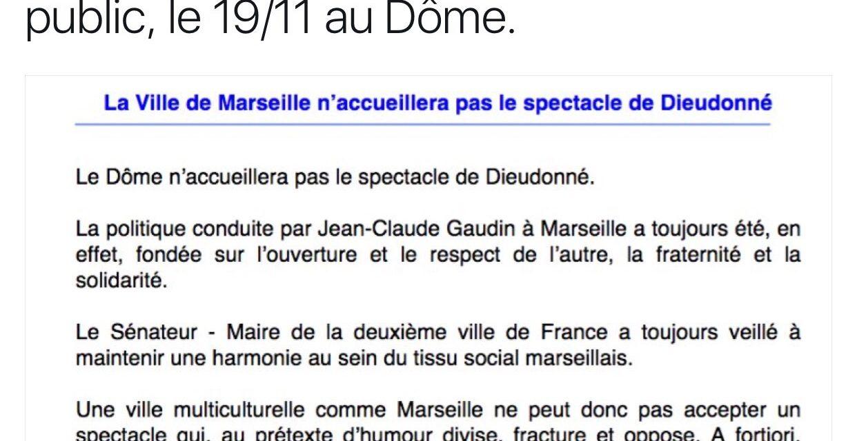 La Ville de Marseille déprogramme le spectacle de Dieudonné au Dôme de Marseille
