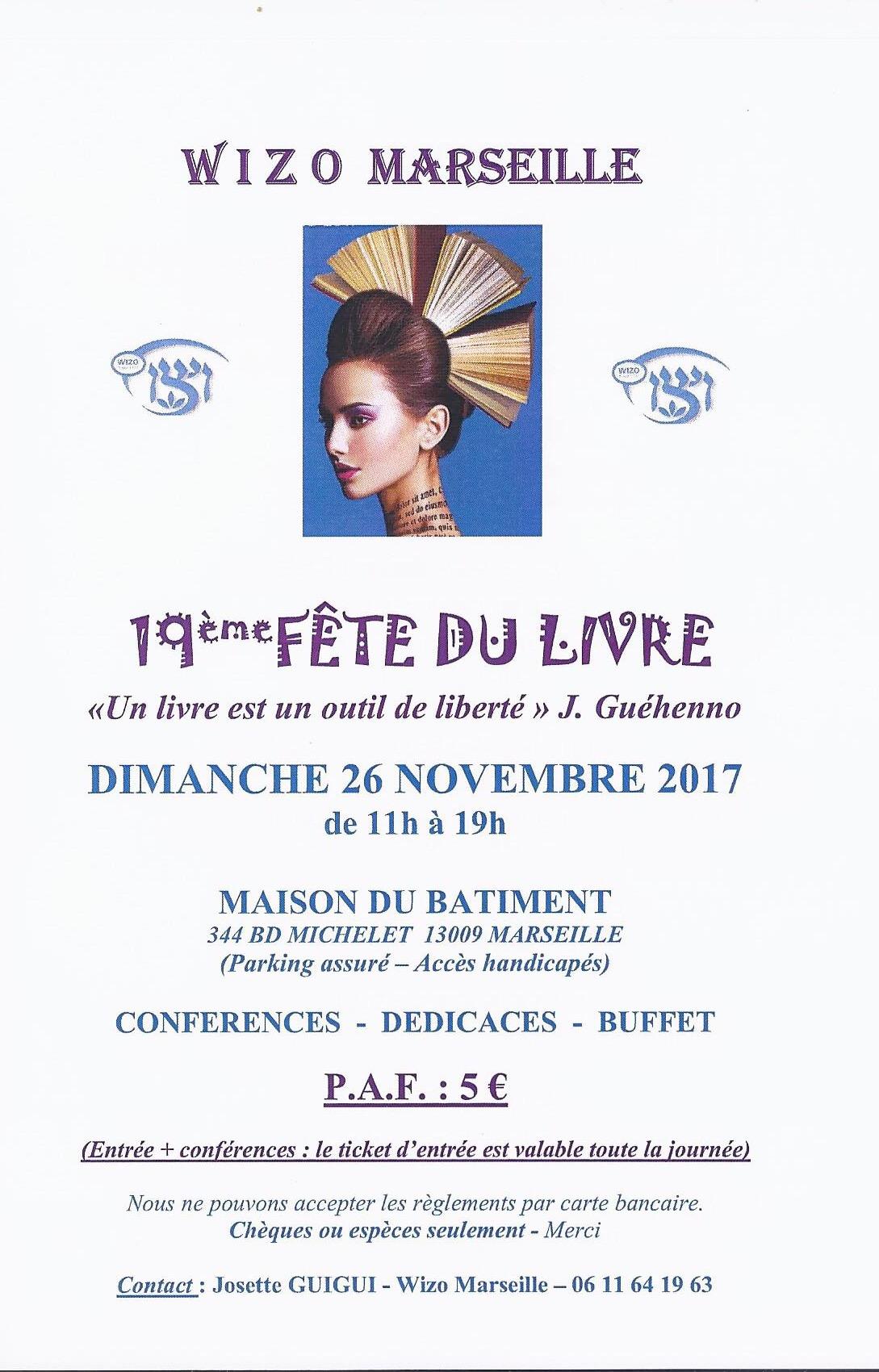 Savethedate salon du livre de la wizo dimanche 26 novembre 2017 crif marseille provence - Invitation salon du livre ...
