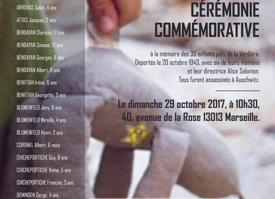 Cérémonie Commémorative de la rafle des enfants juifs du Chateau de la Verdière à Marseille, Dimanche 29 Octobre 2017.