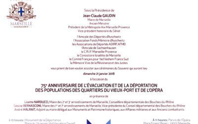 #SaveTheDate : 75e Anniversaire de l'évacuation et de la déportation des populations des quartiers du Vieux-Port et de l'opéra: Dimanche 21 Janvier 2018 à Marseille