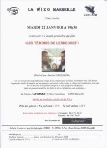 Avant-première du film « Les témoins de Lendsdorf » - Mardi 22 janvier 2019 @ Cinéma Le César