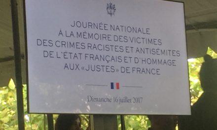 Commémoration de la rafle du Vél d'Hiv et hommage aux Justes de France le 16 Juillet 2017
