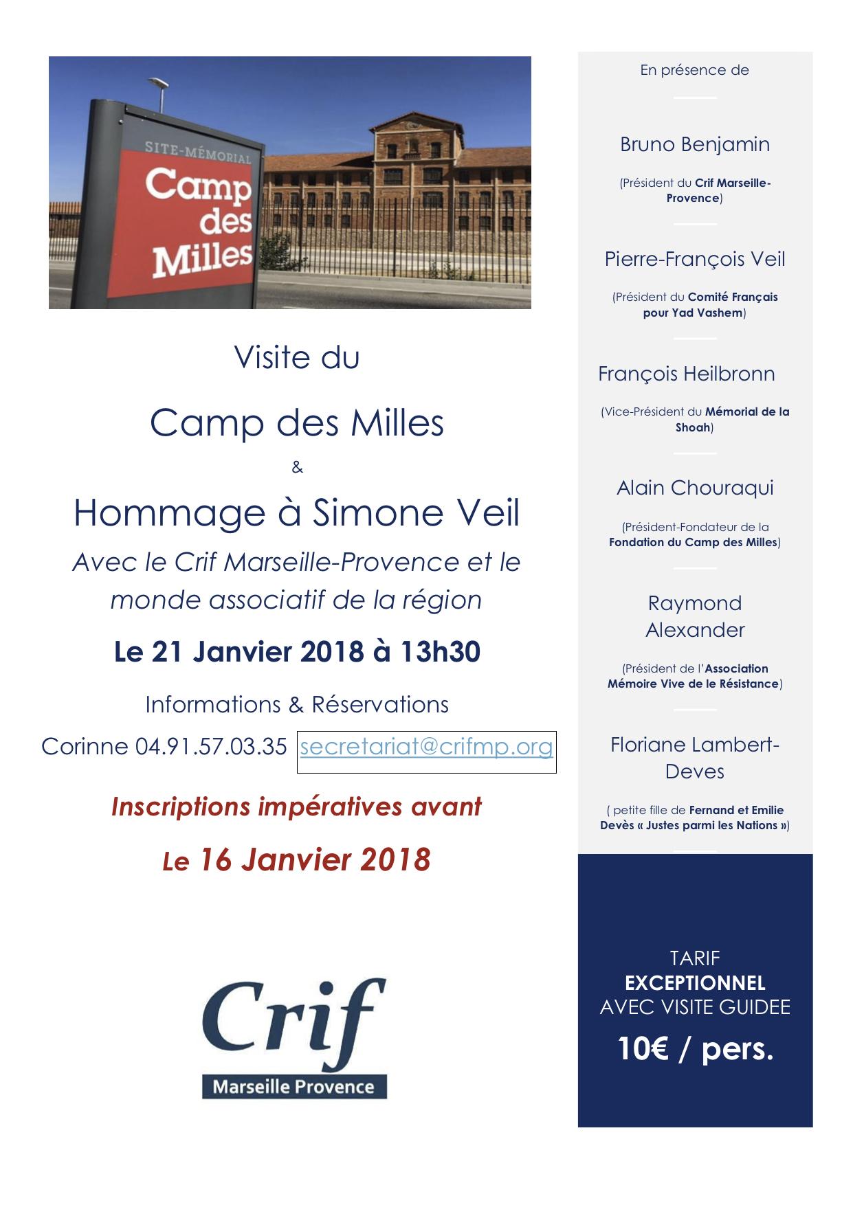 Visite du Camp des Milles et Hommage à Madame Simone Veil avec le monde associatif de la région le 21 Janvier 2018